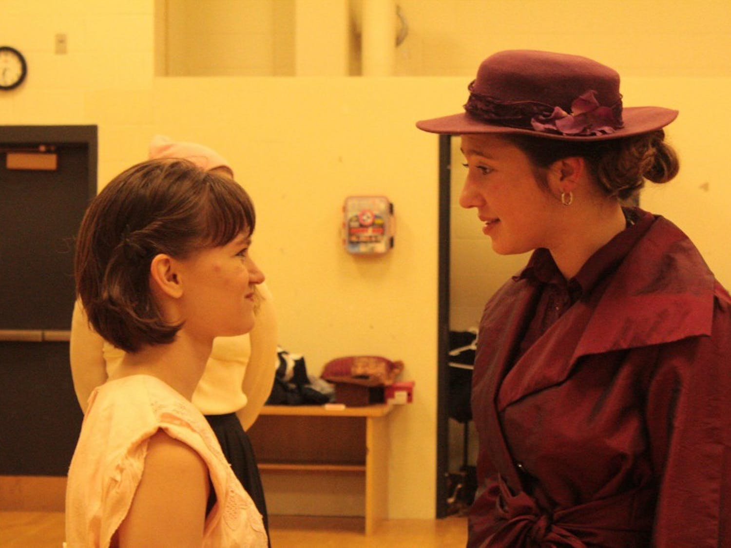 """Libby Walker (right) rehearses for UB Theatre and Dance's production of """"The Cherry Orchard."""""""