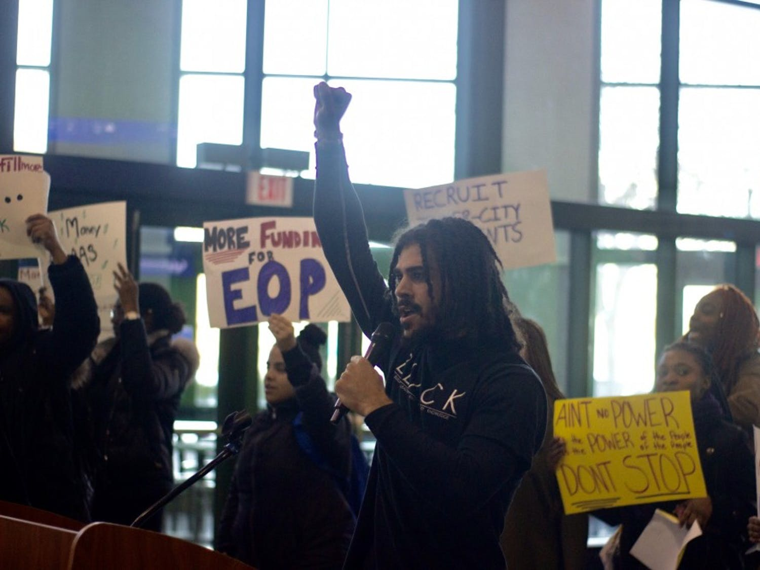 Students demonstrated in the Student Union Friday afternoon and demanded UB change the name of buildings named after Millard Fillmore, increase black faculty and provide more funding for EOP.