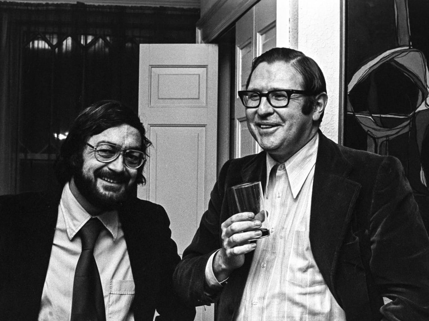 O'Grady (right) at a party in 1974 with Provost of Arts and Letters, John Sullivan (left). O'Grady, who died on Tuesday, leaves a lasting legacy as the founder of the media study department at UB.