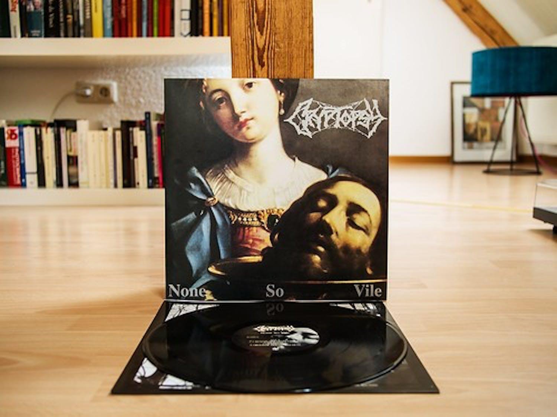 "The vinyl cover for Cryptopsy's 1996 album ""None So Vile."""