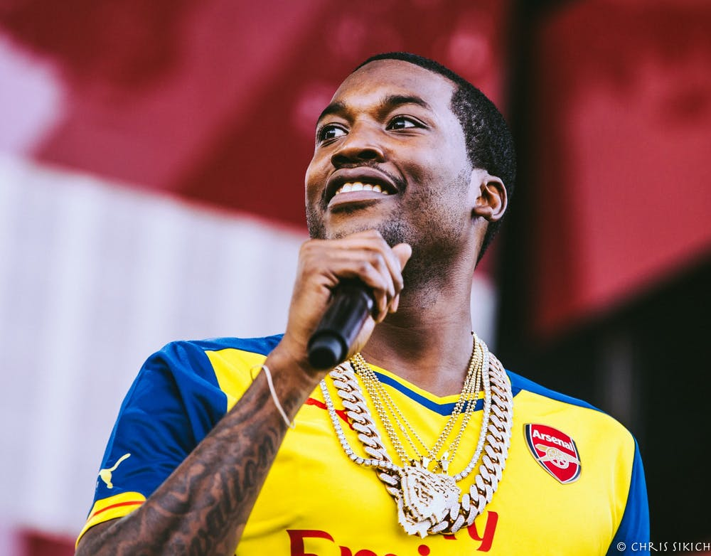 Philadelphia rapper Meek Mill delights the crowd during a 2015 concert.