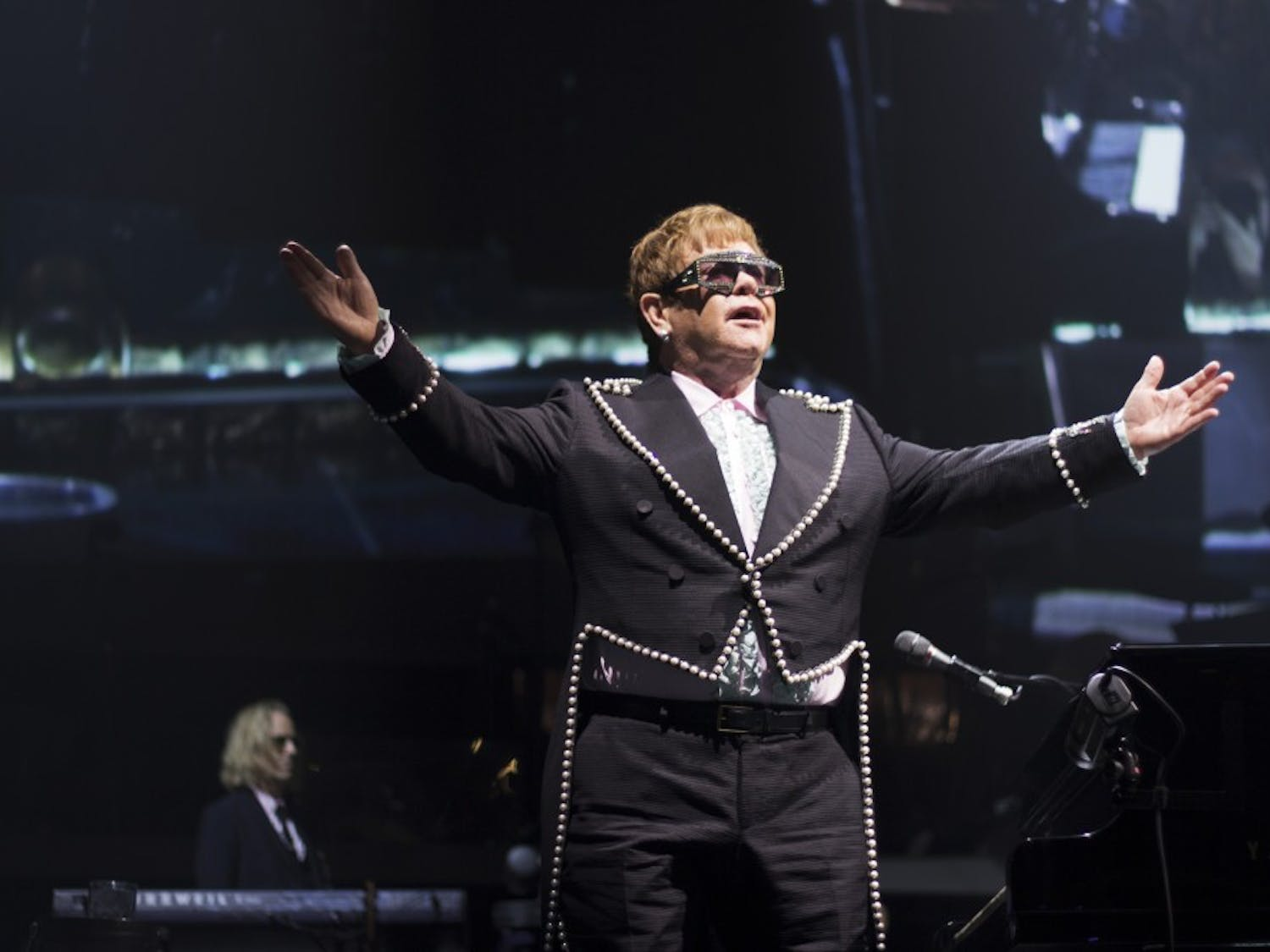"Elton John roused the KeyBank Center on Saturday night, performing a massive set of both hits and deep tracks. John began his current ""Farewell Yellow Brick Road"" tour on September 8, and will take the show across the globe over three years."