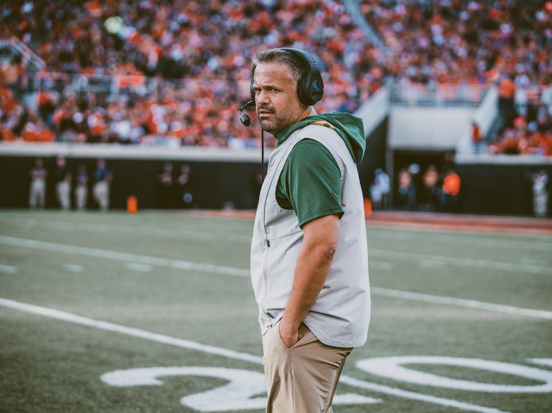 Baylor head coach Matt Rhule walks across the field
