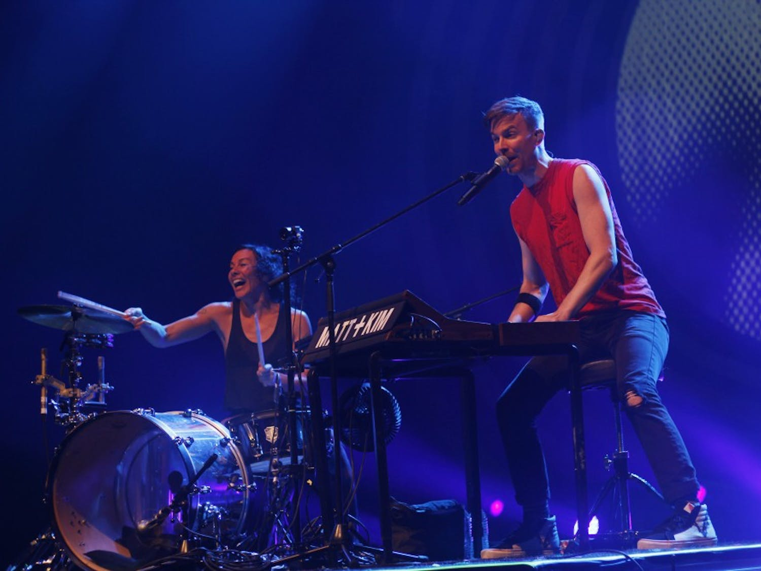 """Pop-duo Matt and Kim brought an energetic performance to the Center for the Arts on Saturday, despite low attendance. Closers American Authors brought a calmness to the evening and mixed in new tracks an popular cuts like """"Best Days of My Life."""""""