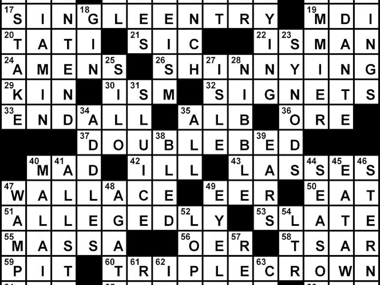 Crossword  Solution - 03/01/2012