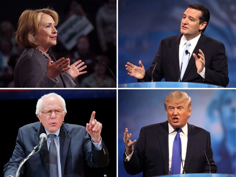 Former Secretary of State Hillary Clinton (clockwise from left), Texas Senator Ted Cruz, Vermont Senator Bernie Sanders and business mogul Donald Trump were frontrunners in the Iowa caucuses Monday.