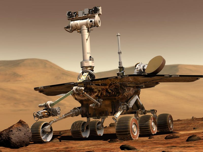 An artist rendering of the Mars Opportunity rover, which went dark late in 2018 after a large dust storm swept across the planet.