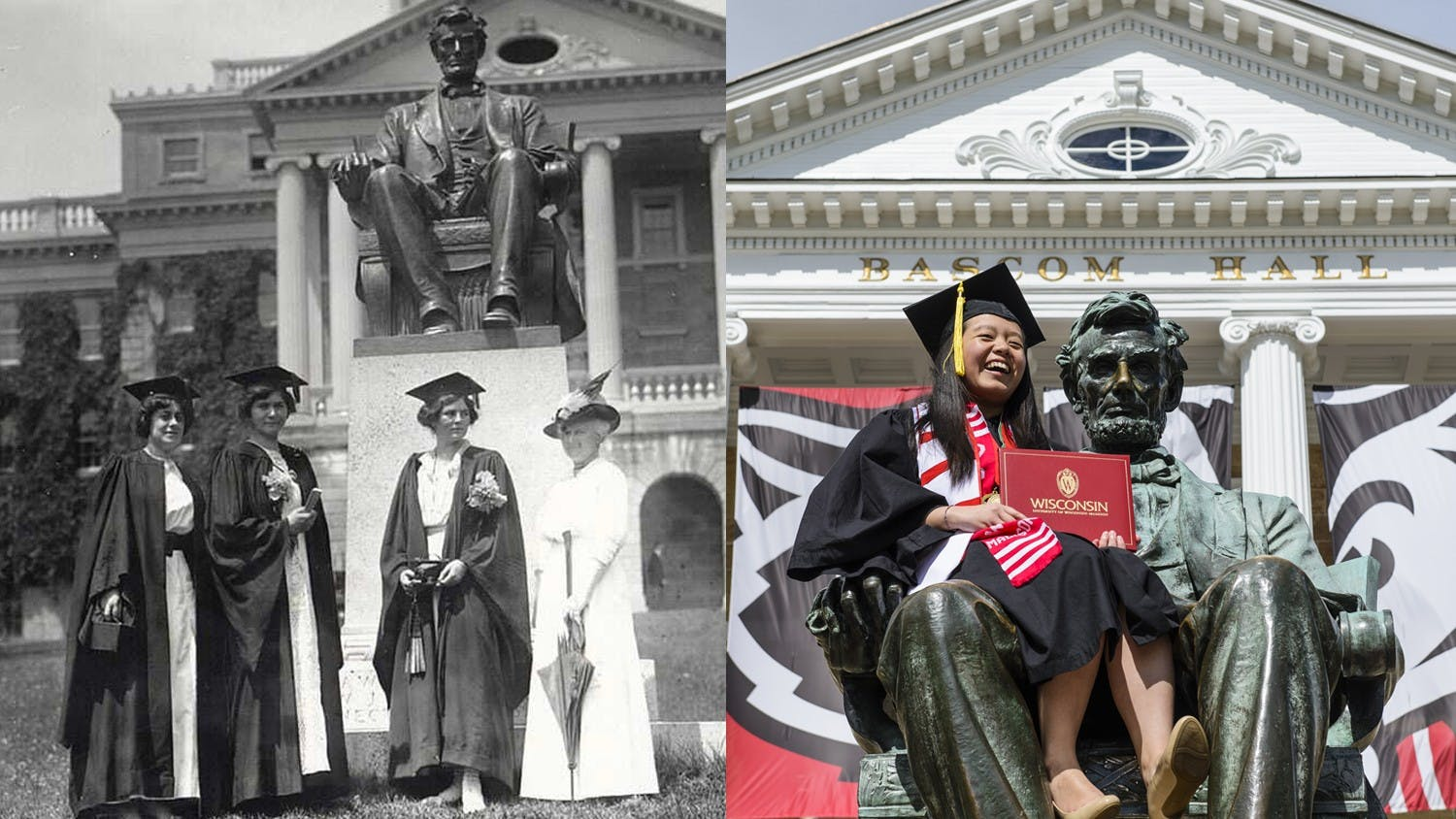 A side by side comparison of women graduates historically and in front of Bascom.