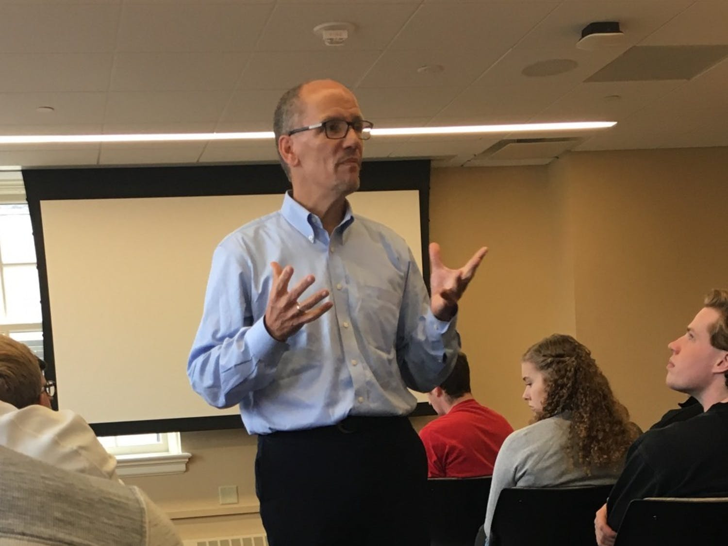 Tom Perez, chair of the Democratic National Committee, spoke to UW-Madison students Friday.