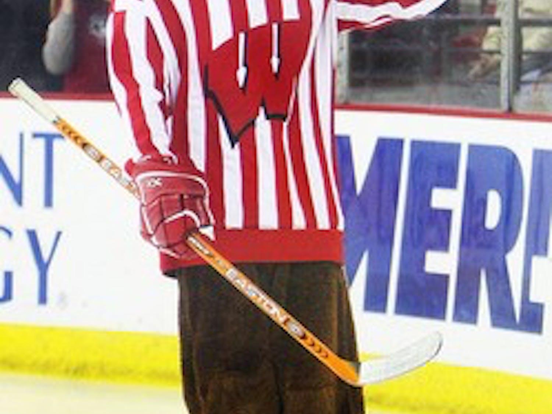 Bucky Badger on skates
