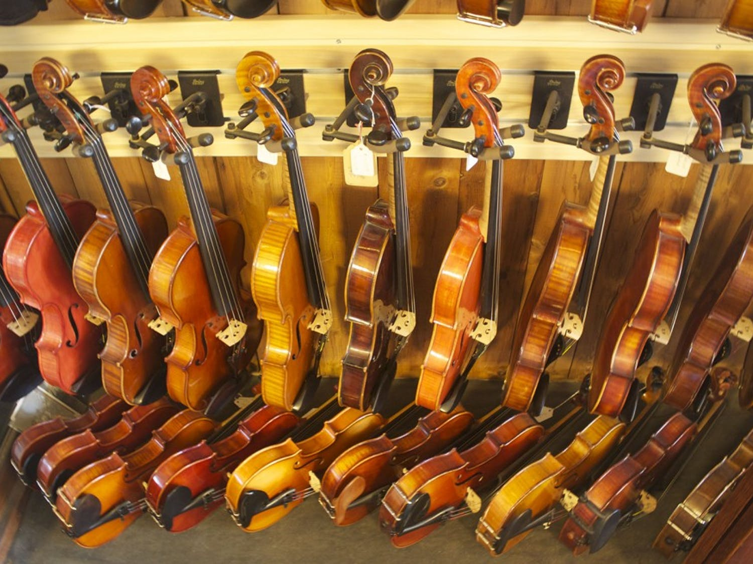 Used, carefully restored string instruments sit waiting for their next owner at Spruce Tree Music & Repair in Madison.