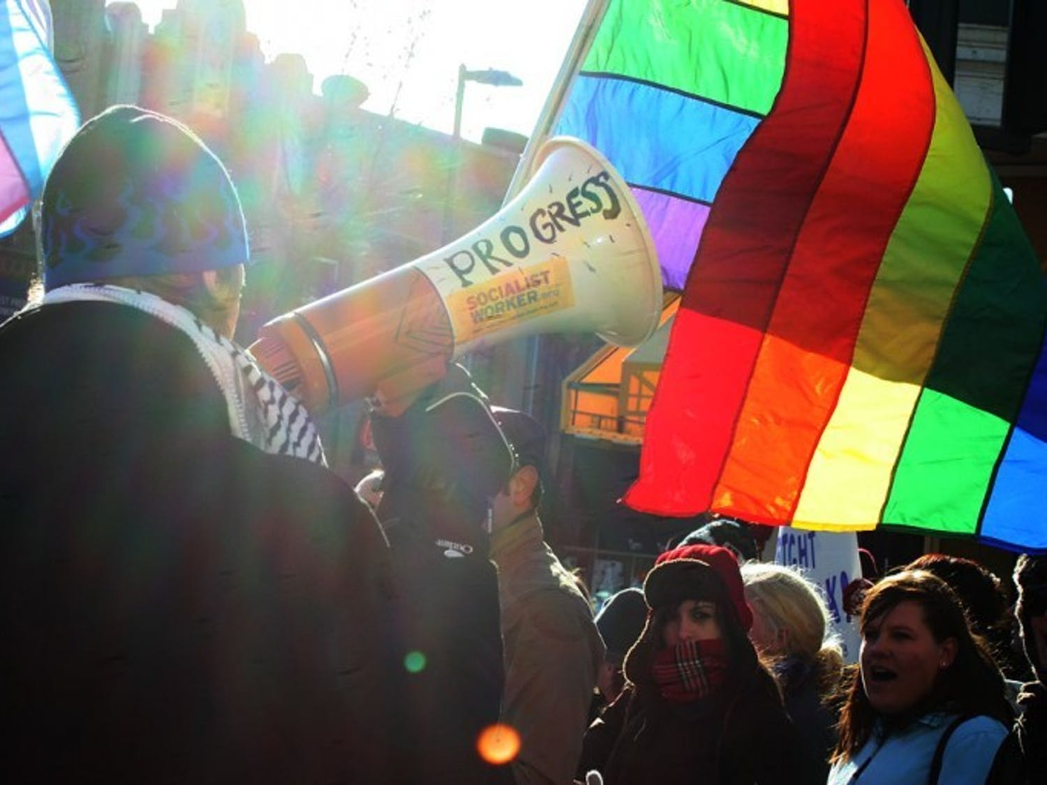 LGBT rights activists rally to show support