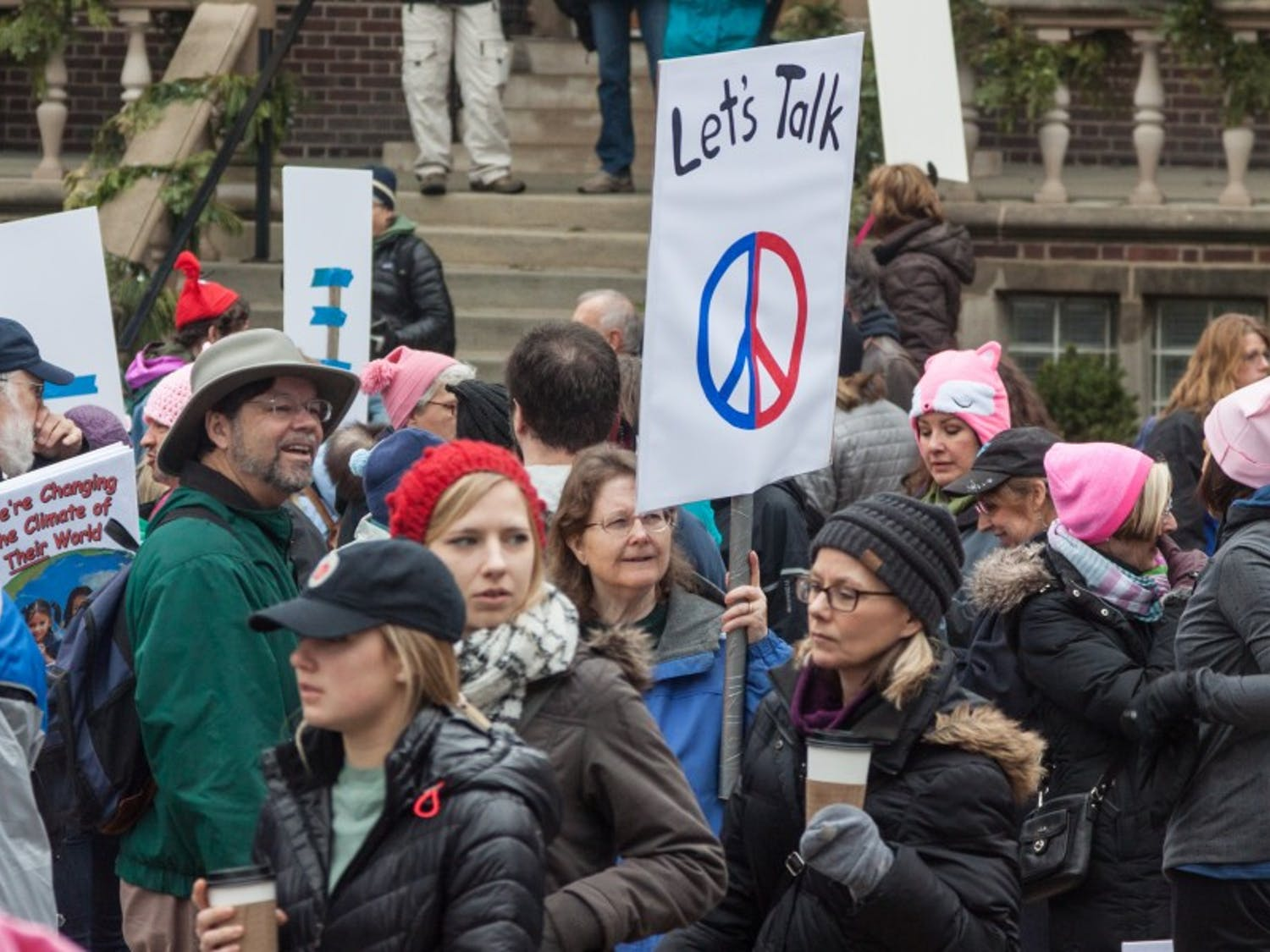Demonstrators gathered on Library Mall to promote agendas for Industrial Workers of the World, Young Americans for Liberty and Young Americans for Freedom Friday.