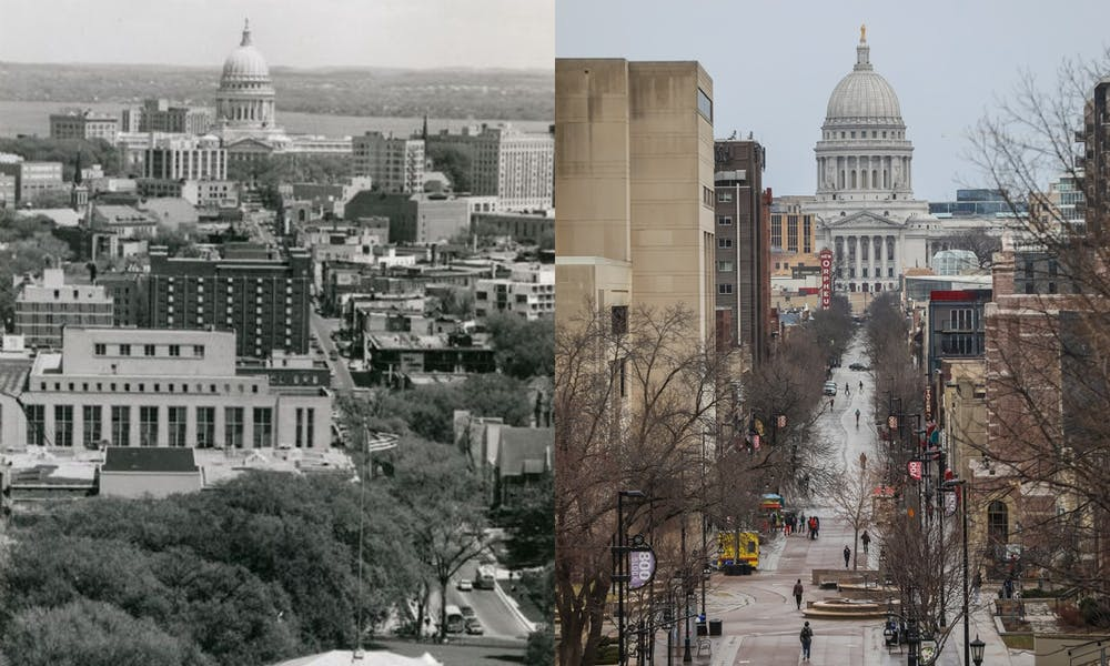 Side by side photos of State Street in 1969 and State Street now.