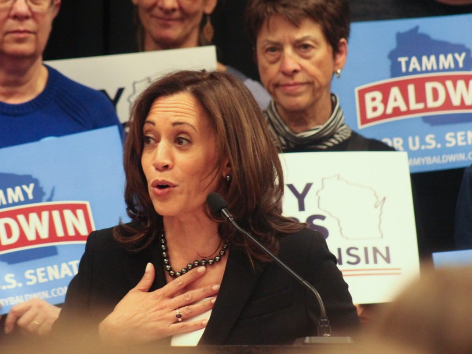 Democratic U.S. Sen. Kamala Harris of California stopped in Wisconsin on Sunday to endorse her colleague Tammy Baldwin for Senate, as well as support Tony Evers' bid for the governorship.