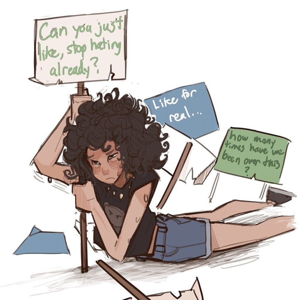 "A graphic depicted an exhausted woman holding up a sign that says ""Can you just like, stop hating already?"""