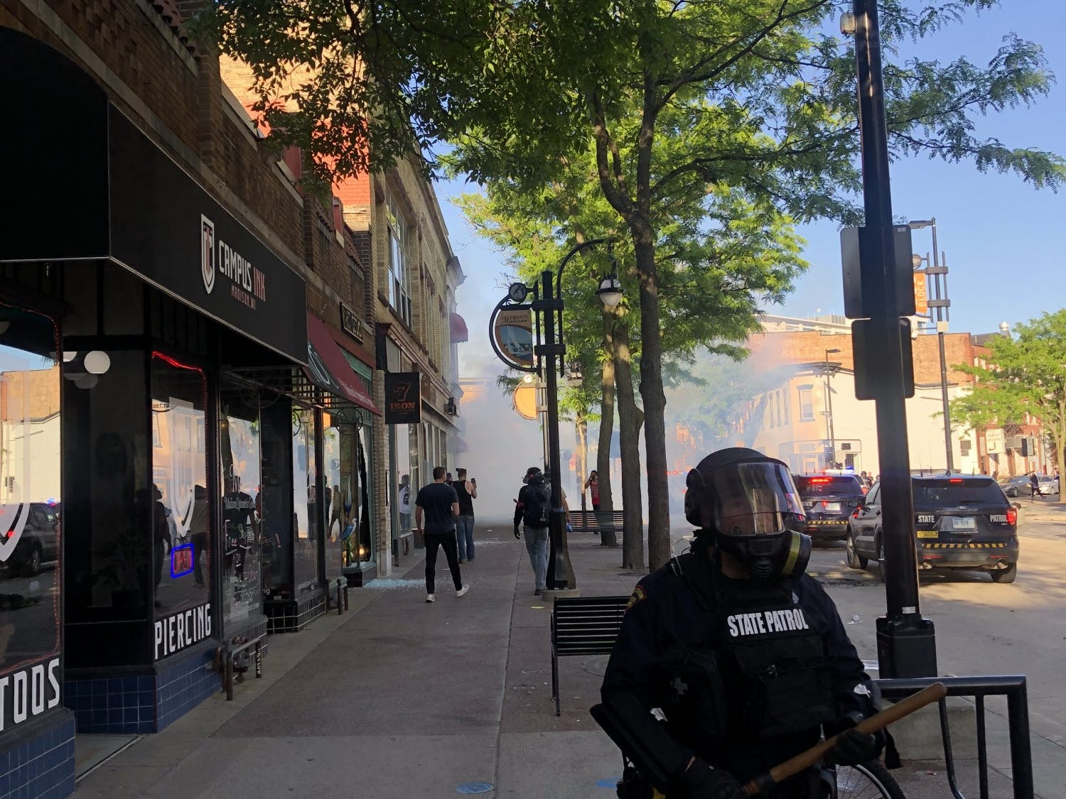 Visible tear gas on State Street during riots in Madison.