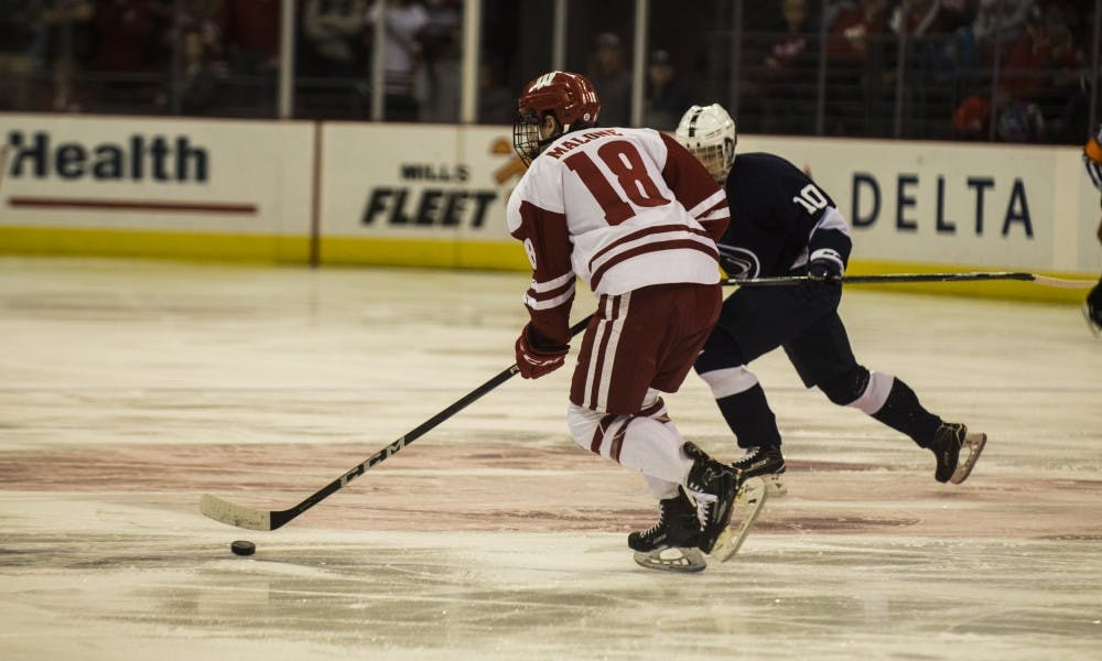 Seamus Malone tallied the opening goal against Michigan Tech, but it wasn't enough as the Badgers allowed too many penalties, and goals, to give themselves a chance at the win.