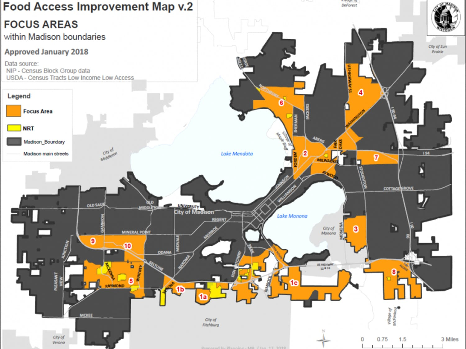 Graphic of focus areas for food access improvement in Madison as of 2018 by the city of Madison.
