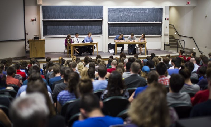 Three members from Badger Catholic and three students from Atheists, Humanists, and Agnostics exchanged arguments about topics such as feminism, science versus religion and abortion.