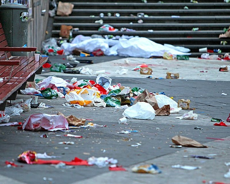 Trash litters the streets in the aftermath of big events like Freakfest.