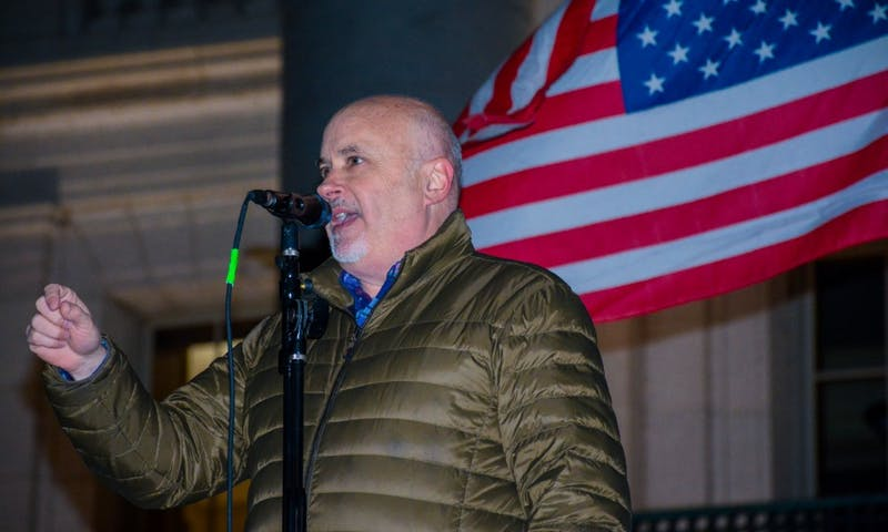US Rep. Mark Pocan, D-Madison, spoke to hundreds of Madison residents Thursday evening at a rally protesting President Trump's removal of Deputy Attorney General Rod Rosenstein from overseeing Robert Mueller's investigation into the Trump campaign.