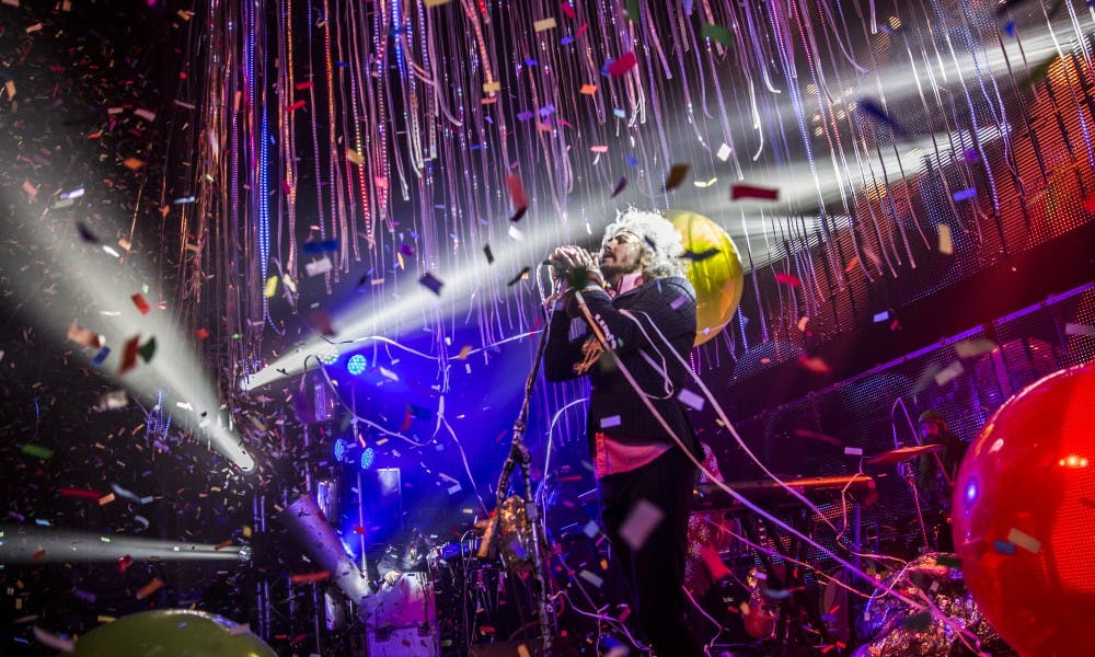 <p>The&nbsp;Flaming Lips' frontman&nbsp;Wayne Coyne&nbsp;performing a mind-bending set at the Orpheum on Friday.</p>