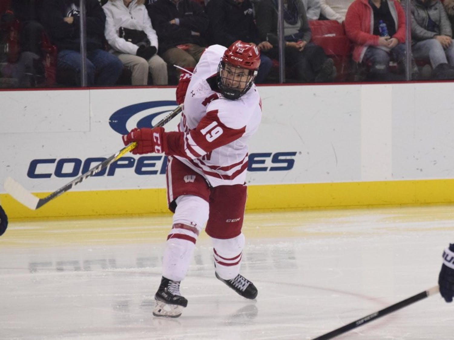 Senior captain Cameron Hughes and the Badgers lost two four-goal contests against Ohio State in Columbus.