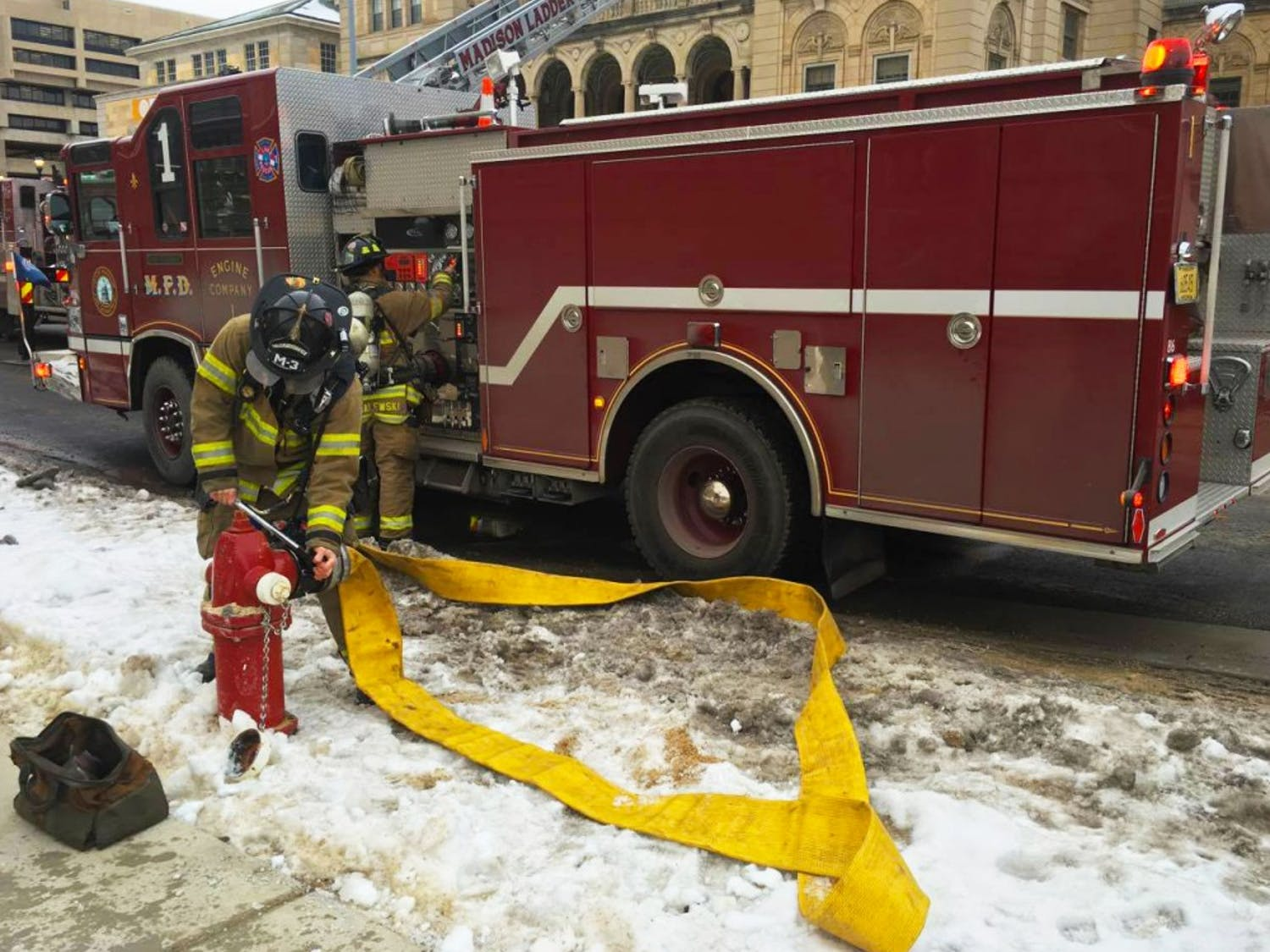 Madison Fire Department responds to a fire at Memorial Union Thursday afternoon.