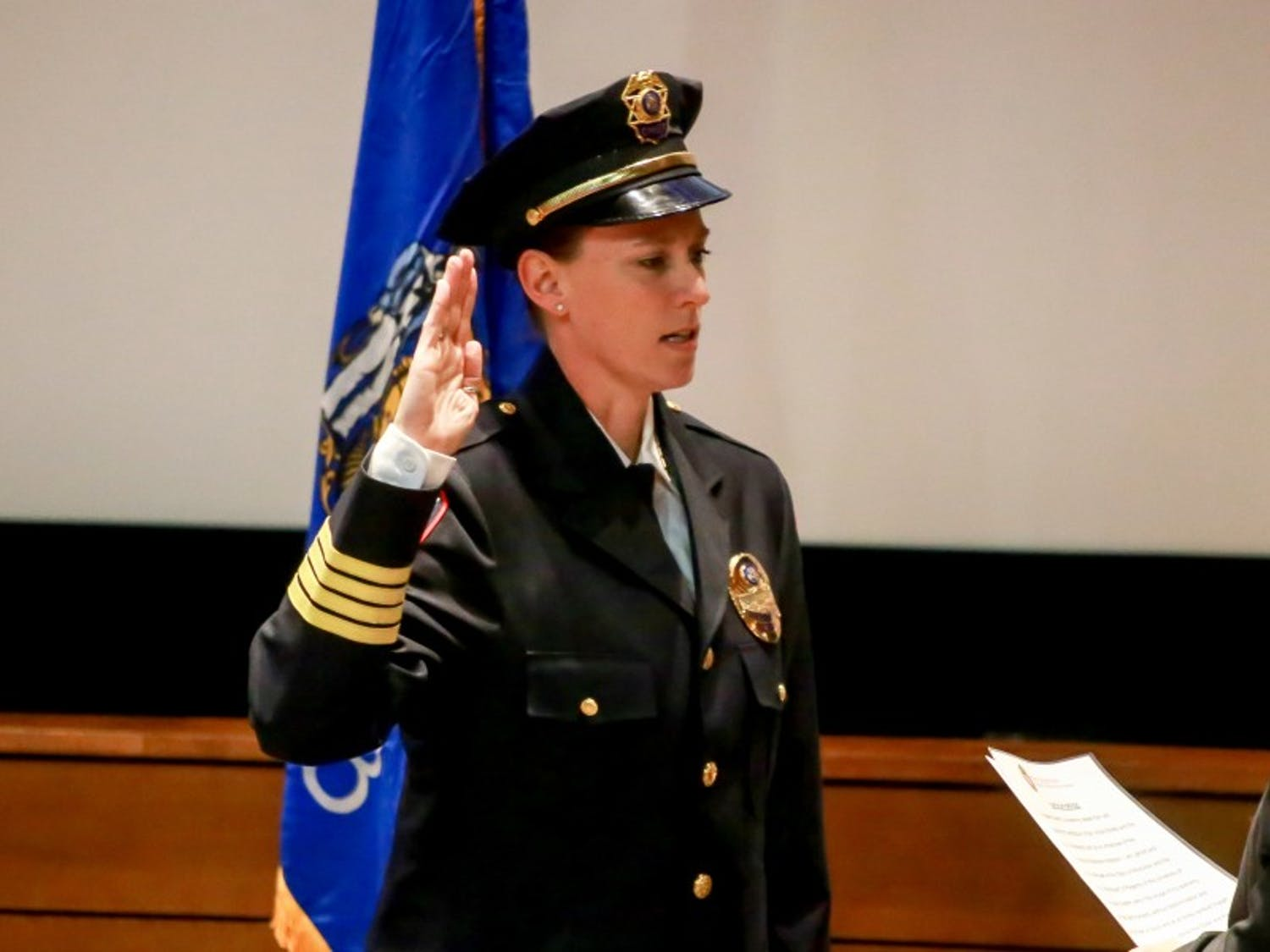 UW-Madison Police Department Chief Kristen Roman formally accepted her title at a swear-in ceremony Wednesday.
