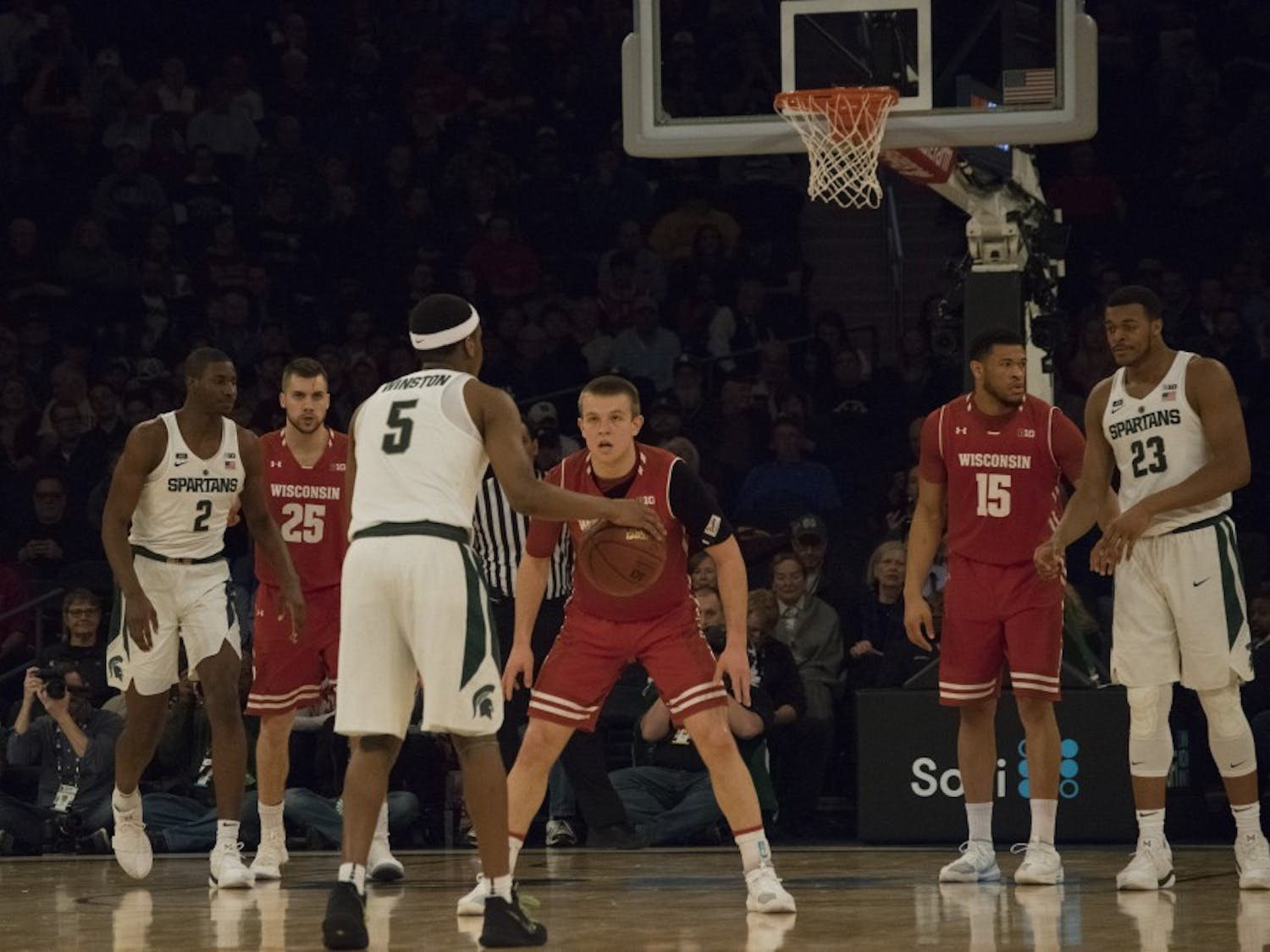 Freshman guard Brad Davison shot just 4-of-14 from the field as his phenomenal freshman season came to an end in a 60-63 loss to No. 1-seed Michigan State in the Big Ten Tournament.