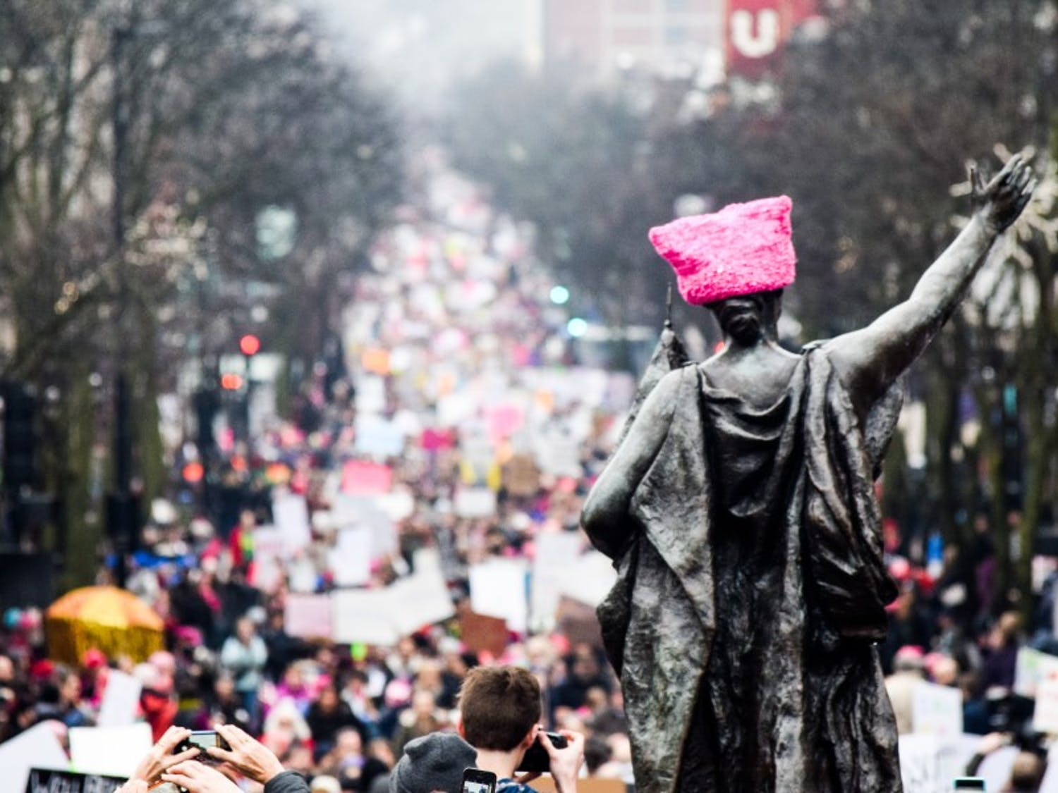 Approximately 100,000 people filled State Street and Capitol Square Saturday as a part of the Women's March, an international movement following the inauguration of President Donald Trump.