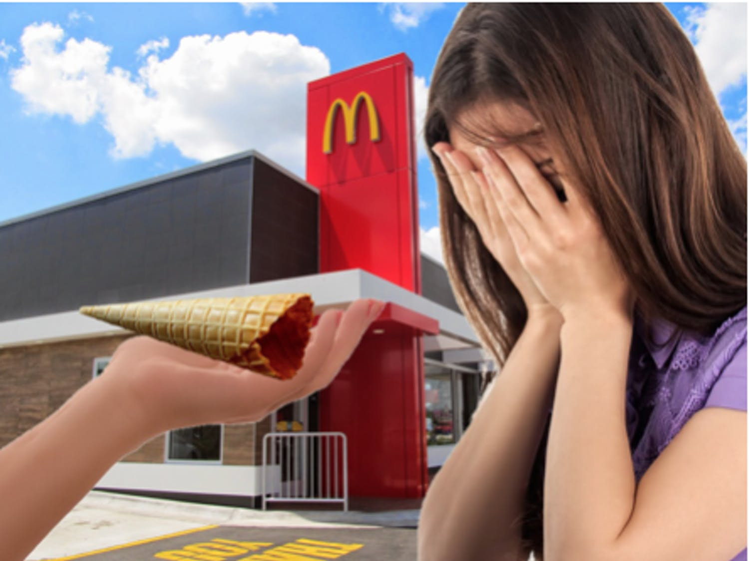 McDonald's worker hands a dismayed woman the portion of a vanilla cone they are equipped to produce.