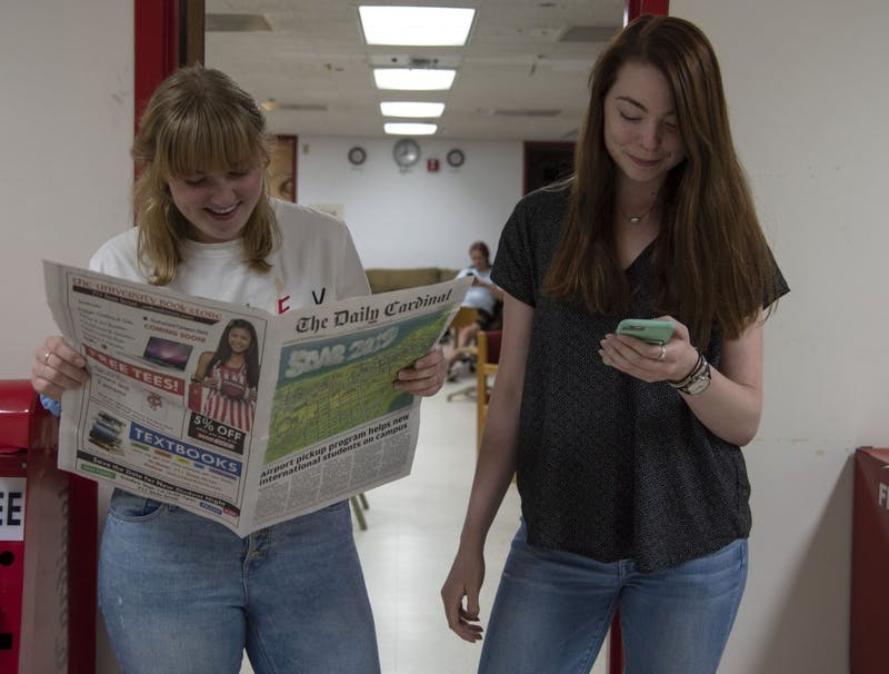 The 2019-'20 management team, Robyn Cawley and Erin Jordan, address the future of journalism and The Daily Cardinal.