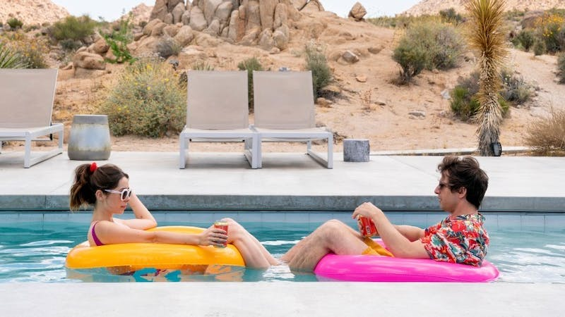 "Andy Samberg and Cristin Milioti fall into a never-ending repetitive reality in new Hulu rom-com ""Palm Springs."""