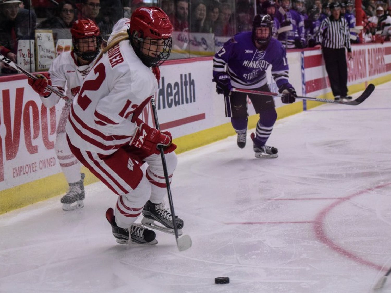 Sofia Shaver scored against Minnesota-Duluth early in the first to give UW a 2-0 lead.