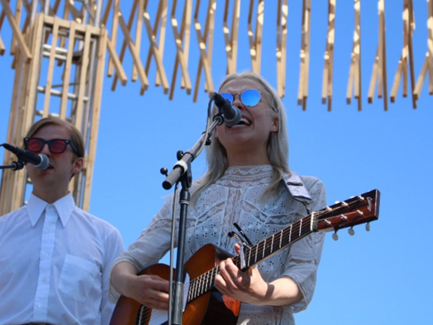 Phoebe Bridgers brought out Christian Lee Hutson for her performance on Saturday at the brand-new circular stage.