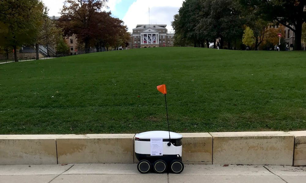 <p>Food delivery robots can now be seen on the north end of campus, delivering dining hall food to students, faculty and staff.</p>