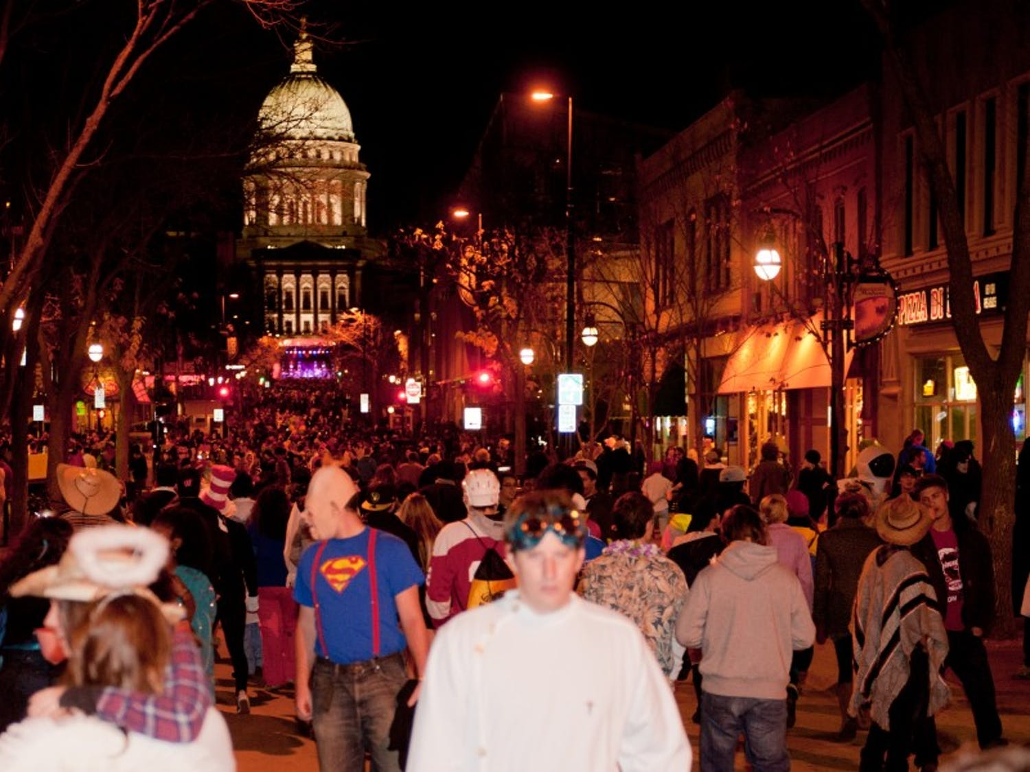 Madison citizens gather for Halloween festivities on State Street in 2012 for the 7th year of Freakfest.