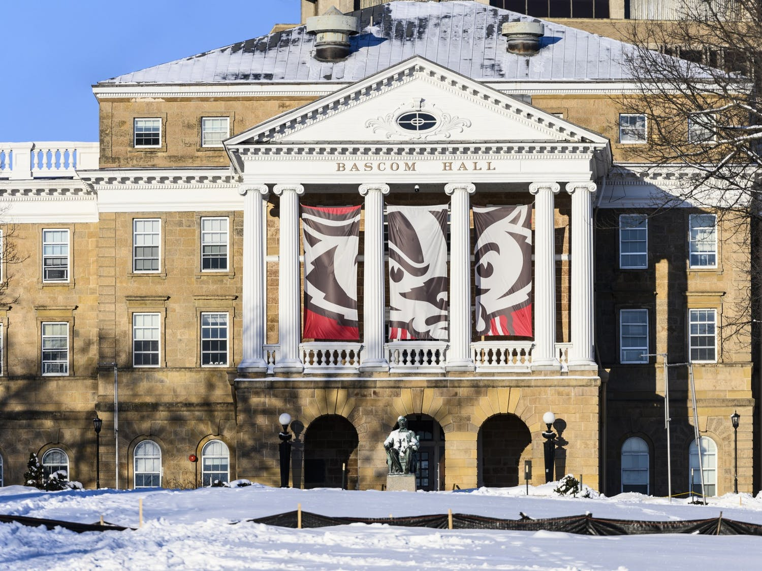 A snow-covered Bascom Hill and Bascom Hall at the University of Wisconsin-Madison