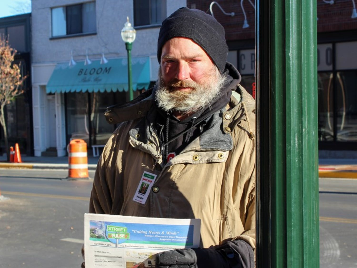 Chris Hubbard has been selling Street Pulse Newspaper for five of his eight and a half years living on the street.