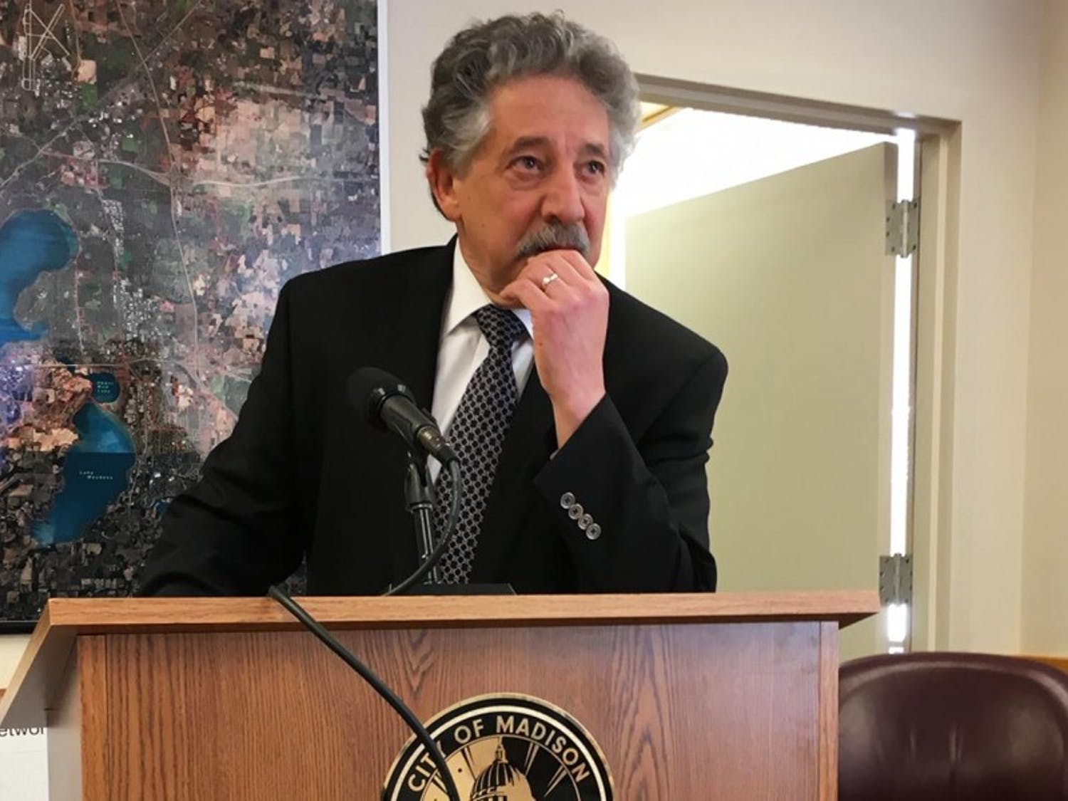Mayor PaulSoglin held a press conference after Alders MarkClear and DavidAhrens announced the reforms Tuesday.