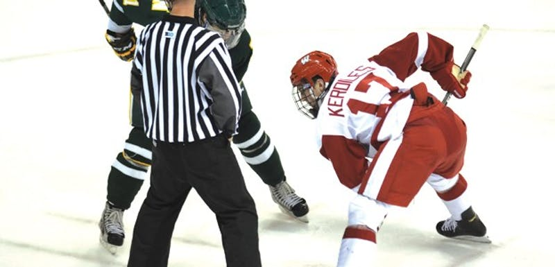 Sophomore forward Nic Kerdiles started the scoring early for the Badgers against Northern Michigan last Saturday.