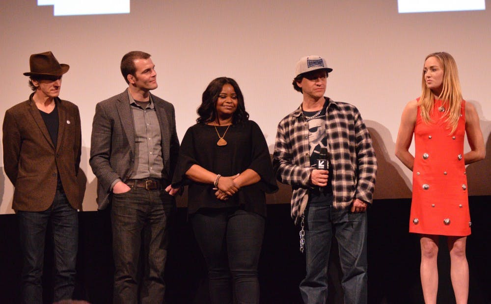 "From left: John Hawkes, director Ian Nelms, Octavia Spencer, Clifton Collins Jr. and Caity Lotz discuss their film ""Small Town Crime."""