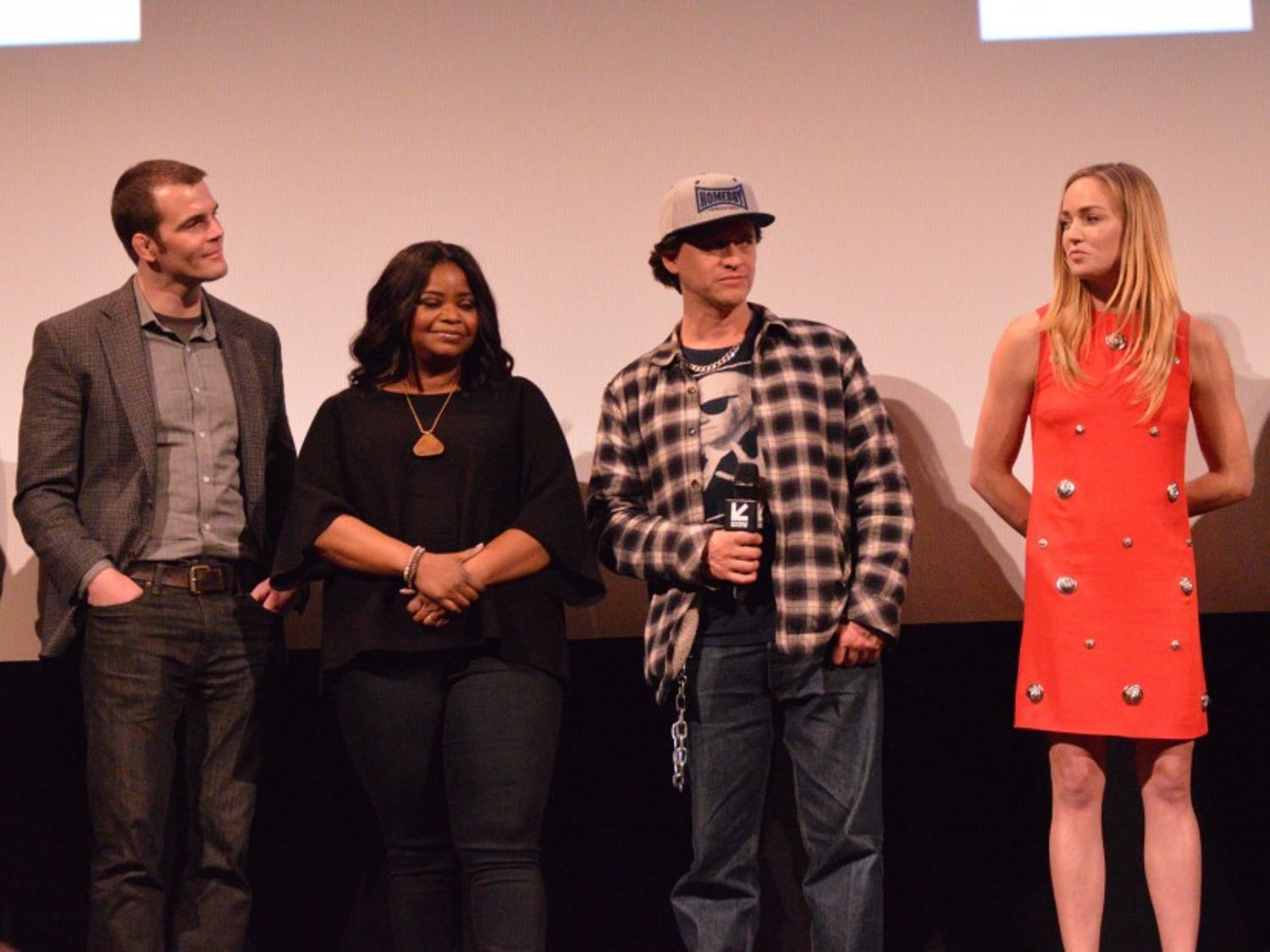 """From left: John Hawkes, director Ian Nelms, Octavia Spencer, Clifton Collins Jr. and Caity Lotz discuss their film """"Small Town Crime."""""""