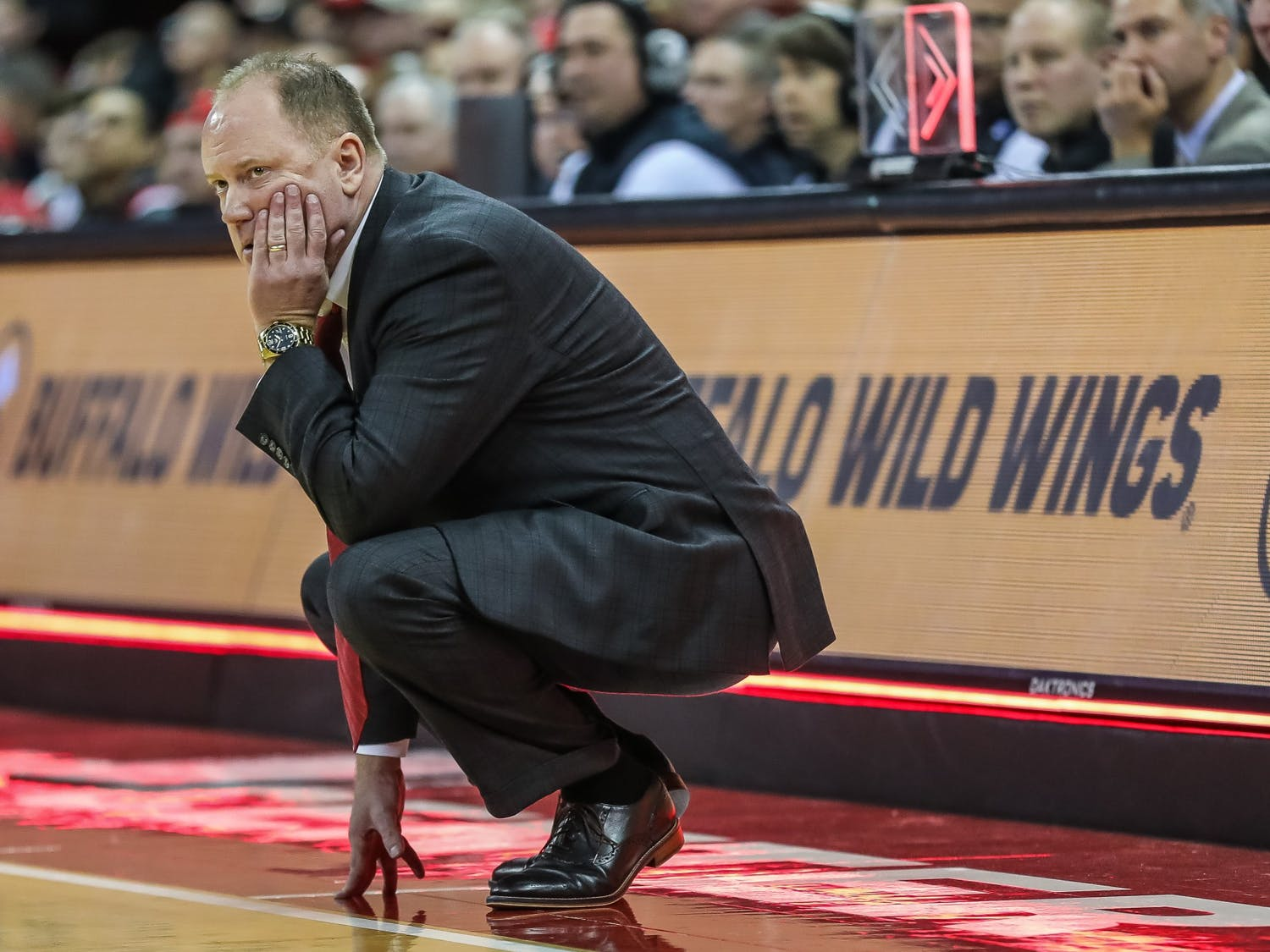Head coach Greg Gard wasn't happy with the Badgers performance Monday night after letting Maryland make 11 of their last 12 field goal attempts.