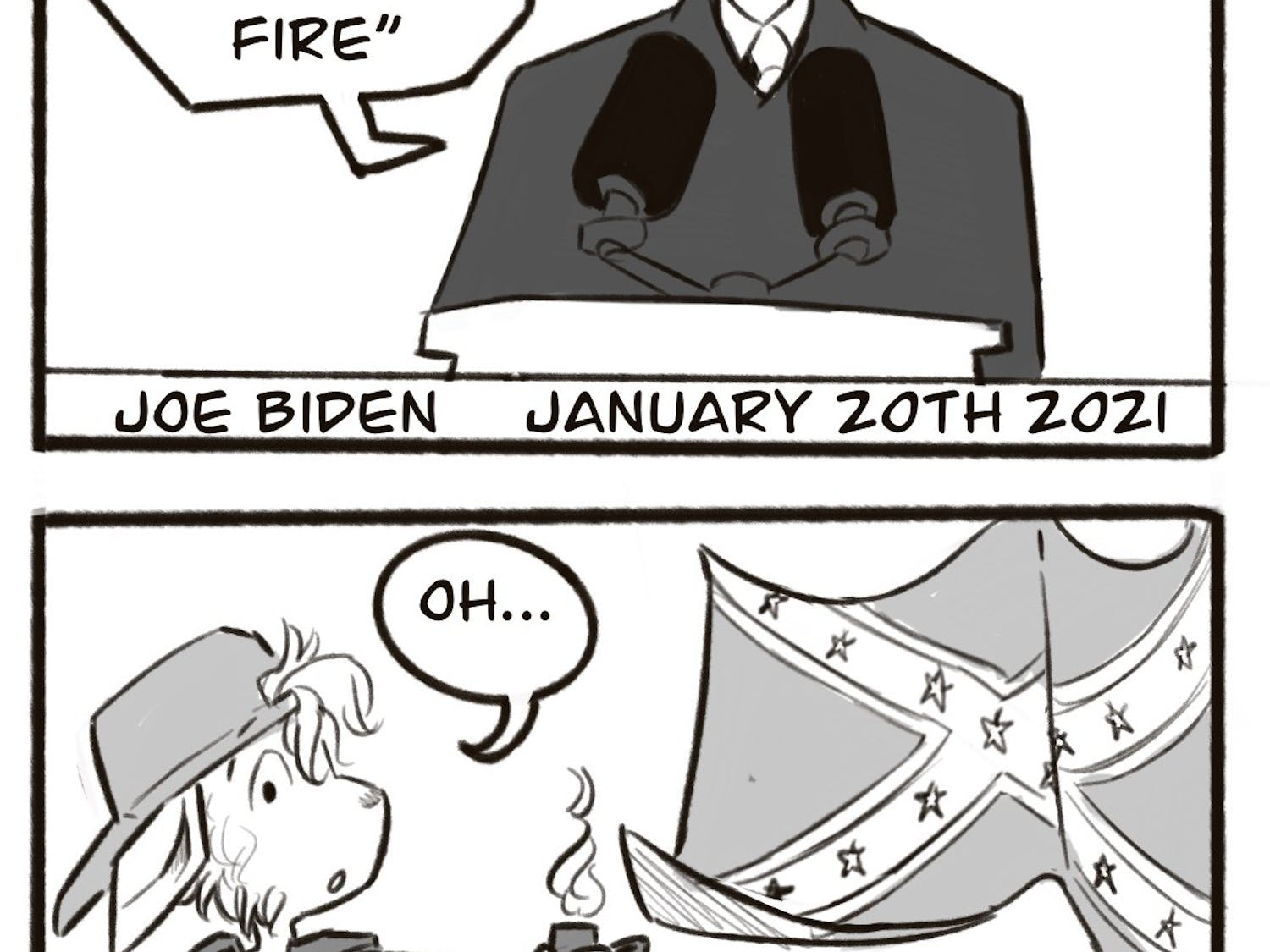 This week, our Graphics Editors Lyra and Zoe and graphics designer Lily remark on President Joe Biden's Inauguration Day and the events following up to it.