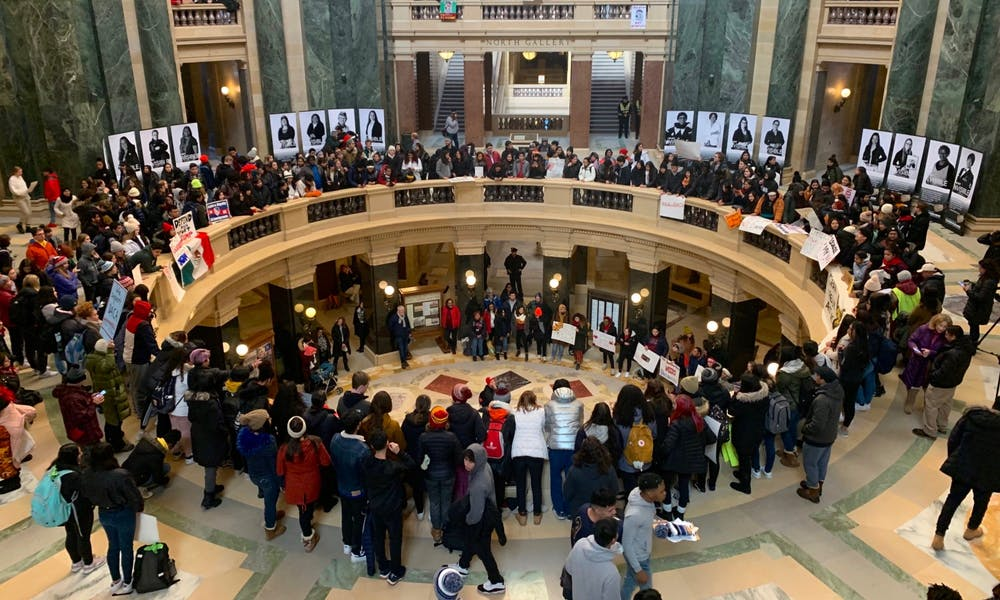 Protesters demonstrated support for the Deferred Action for Childhood Arrivals program at the Capitol today as the Supreme Court begins hearing the case of DACA's future existence.