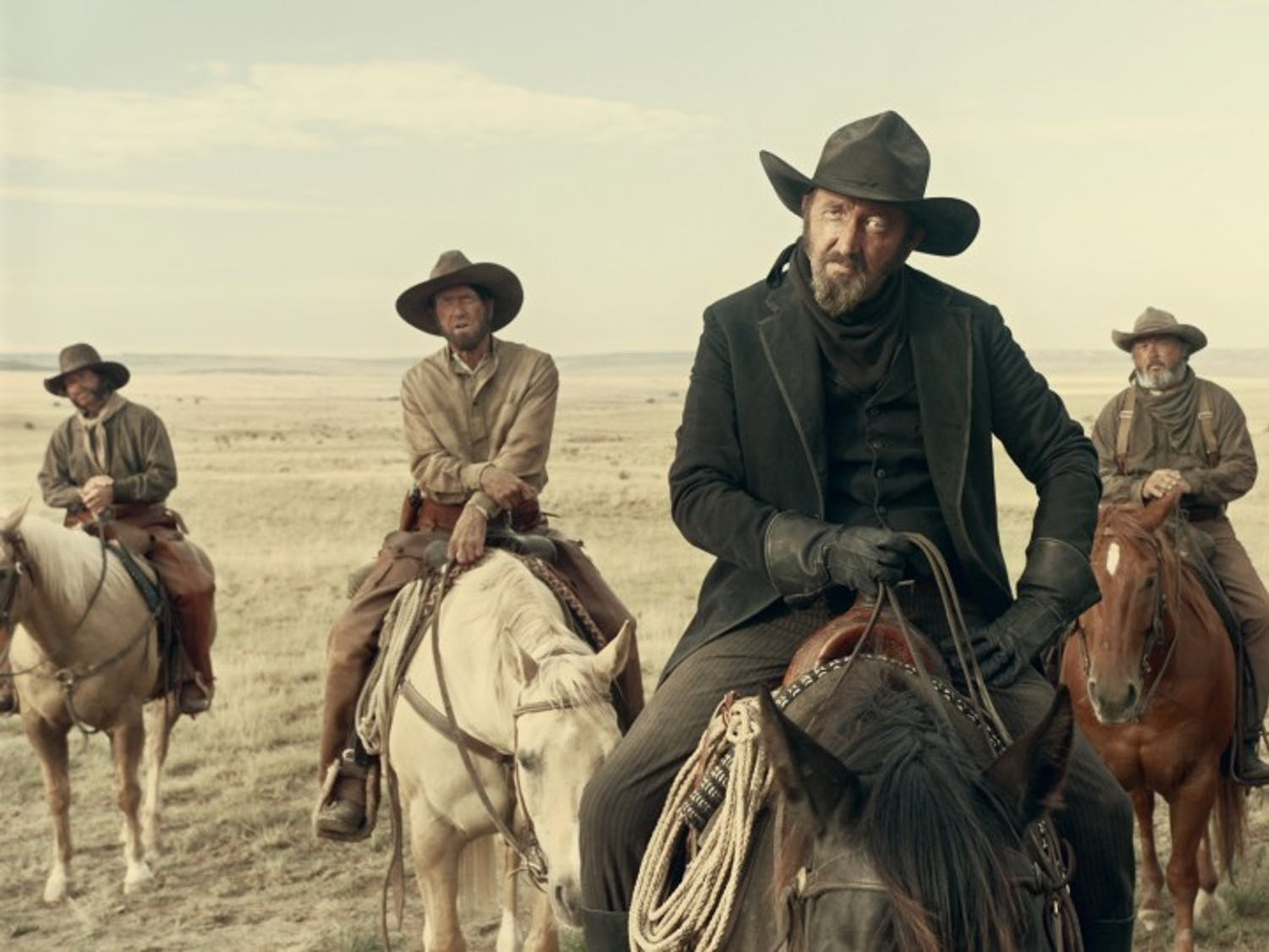 """Ralph Ineson as """"The Man in Black"""" in The Ballad of Buster Scruggs, a film by Joel and Ethan Coen."""