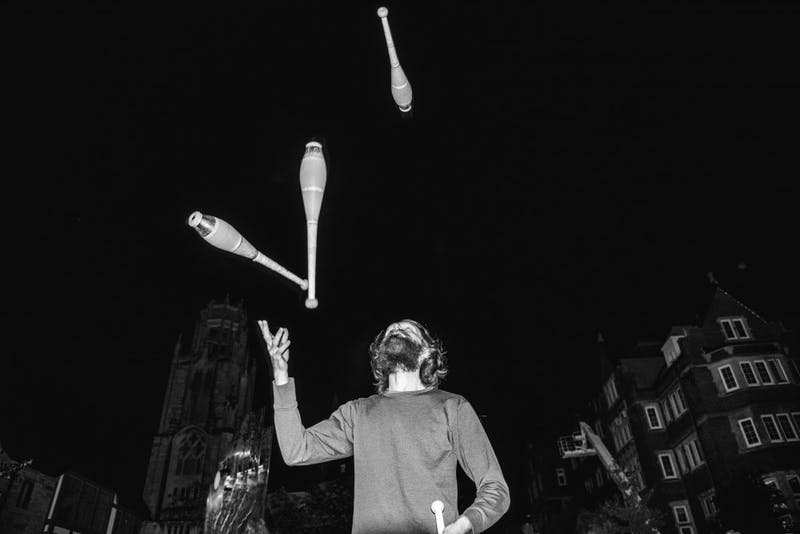 The Madison Area Jugglers have been on Library Mall, weather allowing, every week, often twice a week, for over 35 years.
